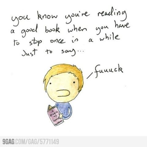 Sabés que te estás leyendo un buen libro cuando tenés que parar de vez en cuando nada más que para decir ... mierda